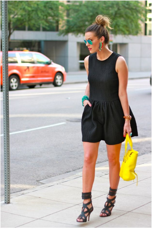 All Black Outfit with Turquoise and Yellow Pops of Color - Accessories and Purse
