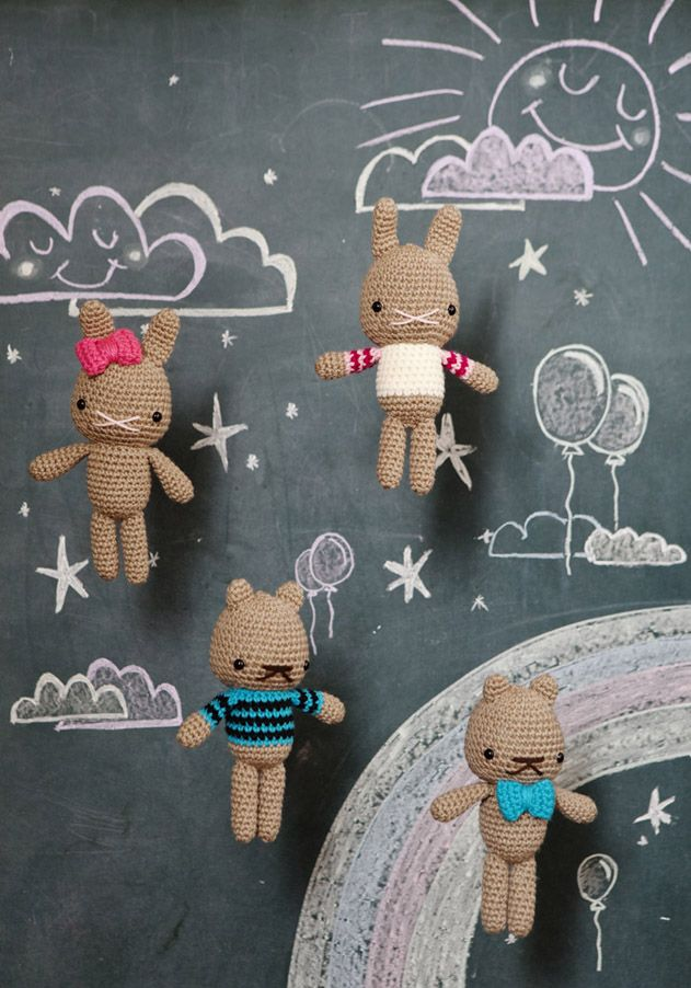 Bunny and Bear Amigurumi - Free Crochet Pattern by Peppermint (scroll down the blog page to get to the pattern)