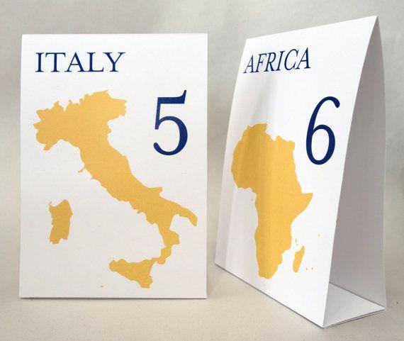 Reisen  Länder der Welt Tabelle Nummer Karten von WeddingMonograms