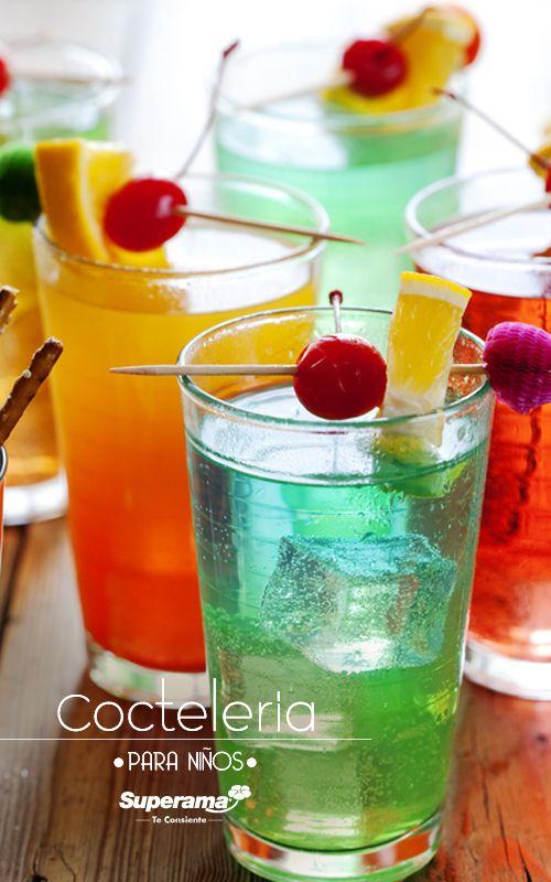#Bebidas de #frutas para #niños: mezcla jugos de frutas naturales con agua con gas y miel. Decora con las mismas frutas y obtén refrescantes y coloridos cocteles sin alcohol.