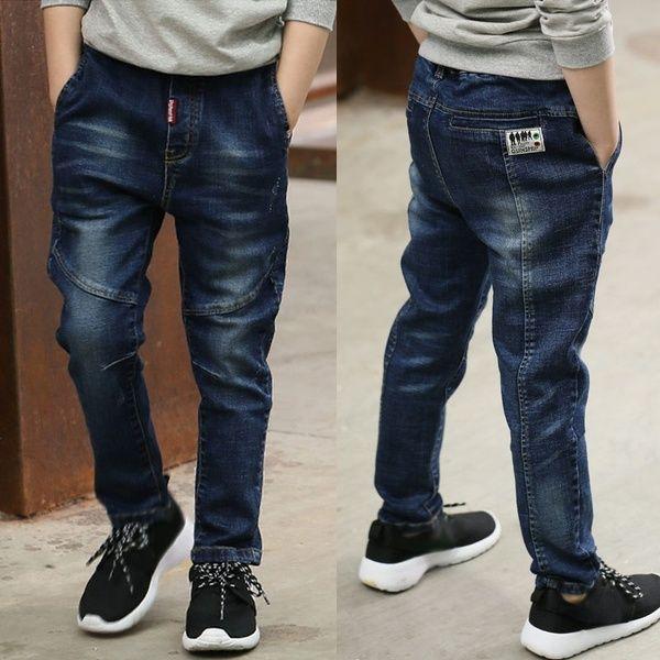 Kids Boys Slim Fit Cotton harem Stretch Jeans Denim Pants Casual Trousers New