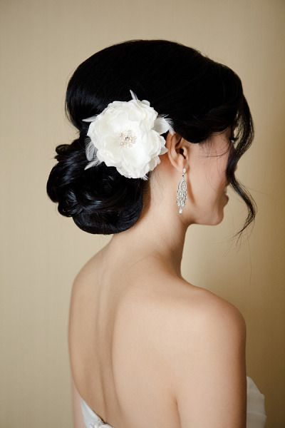 hairstyle: Hair Flowers, Bridesmaid Hair, Hair Pieces, Girls Hairstyles, Bridal Hair, Hair Style, Wedding Hairstyles, Big Flowers, Low Buns