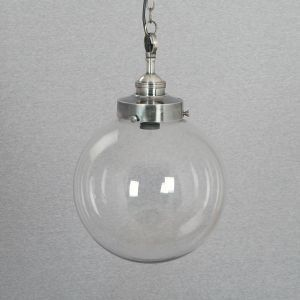 Hanging Lamp - Glass - Solid Brass Nickel Plated