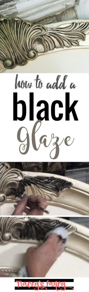 How to add black glaze to furniture painting projects   Furniture Painting Tips and Techniques by Tracey's Fancy   Glaze adds dimension, balance to the other elements and furniture details to play up this headboard's character