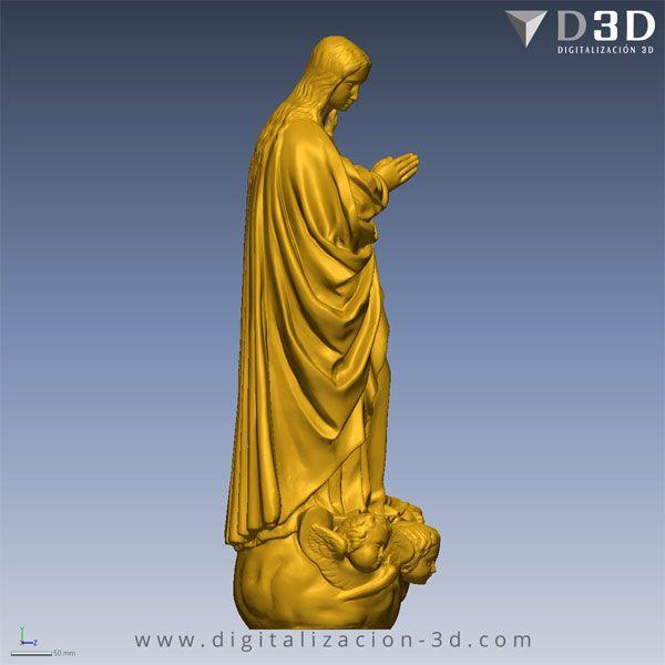 Vista lateral derecho del modelo 3d de la Virgen Inmaculada