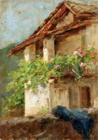 Rustico di campagna  Giuseppe Mentessi (1857-1931) Italian Painter