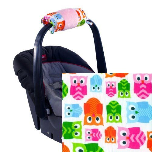 """The Ritzy Wrap Infant Car Seat Handle Cushion fits securely around the car seat handle and alleviates the inner arm pain of carrying a heavy infant car seat!  The """"Hoot"""" pattern has pink, orange, green, and blue owls on a white background. #baby #girls #owls"""