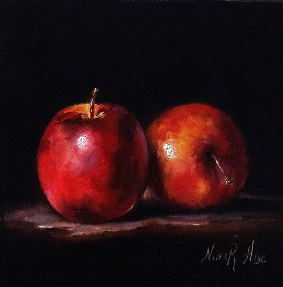 Red Apples Original Oil painting by Nina R.Aide Still Life Fine Art Fruit 7x7x1 inch Oil on Wood