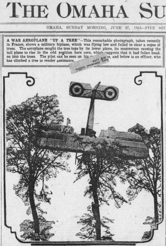 """WWI covered live on Twitter: """"June 27 1915 Recent photo of a military biplane that crashed into a tree in France, pilot OK http://t.co/4sb7ipbdkn http://t.co/UZI8a7BC1J"""""""