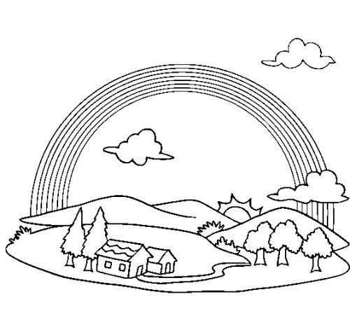 Rainbow Coloring Pages Free Pattern Rainbow