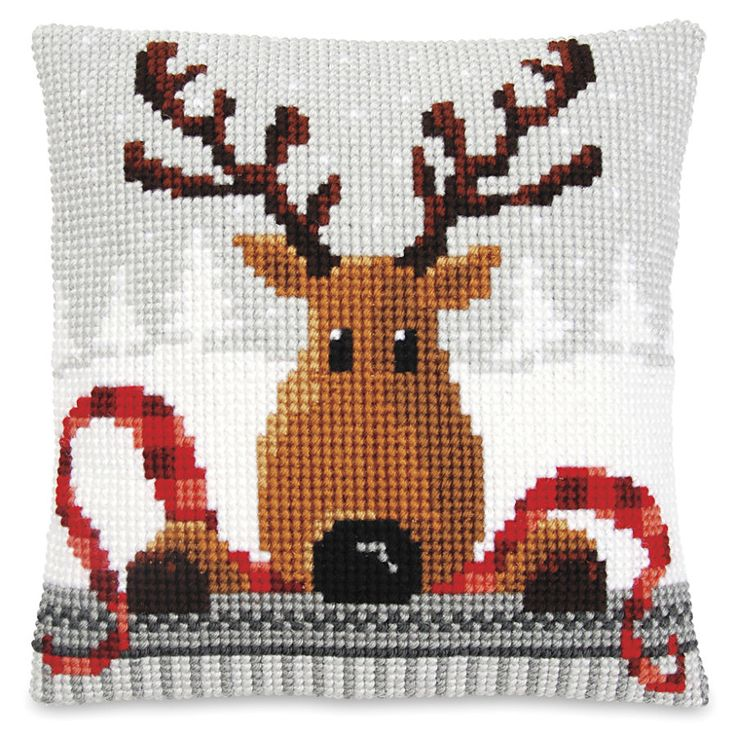Santa on Gray Pillow Top - Cross Stitch, Needlepoint, Embroidery Kits – Tools and Supplies