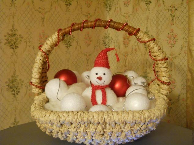 Снеговик из елочных игрушек - Ярмарка Мастеров - ручная работа, handmade