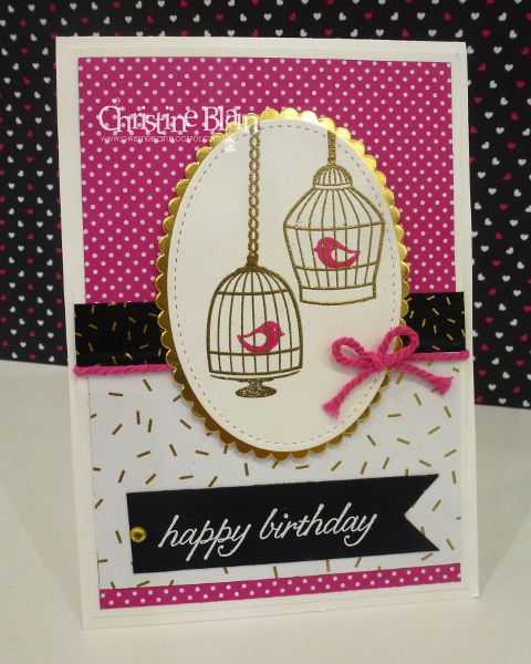 HAPPY HEART CARDS: STAMPIN' UP! BUILDER BIRDCAGE - POP OF PINK