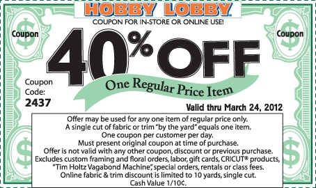 Hobby Lobby Coupon. 40% off one item. Each month this coupon's expiration date will update. Use this to buy your craft supplies!