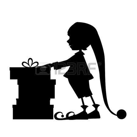 cartoon elfe: Elf Silhouette und Weihnachtsgeschenke