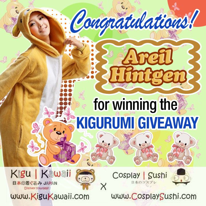 """OUR KIGURUMI GIVEAWAY WINNER IS HERE!   Congratulations https://www.facebook.com/areil.hintgen for winning a complete Rilakkuma Kigurumi Set!  You will receive a message from us on how you will be able to claim your prize.   GET READY FOR FEBRUARY's NEW kawaii GIVEAWAY! :"""">  #kigurumi #giveaway #onesie #rilakkuma"""