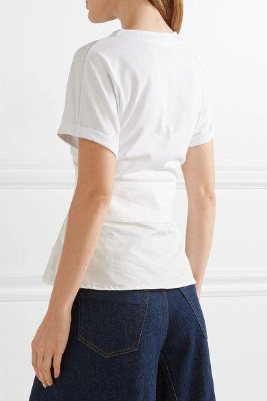 3.1 Phillip Lim - Lace-up Poplin-trimmed Cotton Top - White
