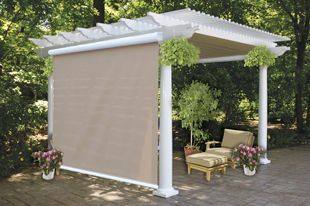 Under pergola canopy with solar shades