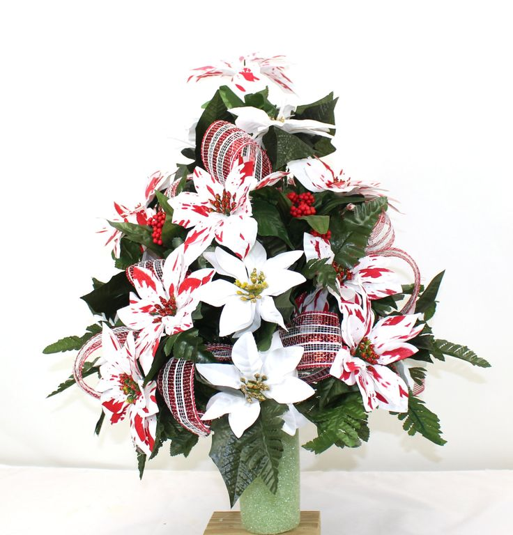 Beautiful peppermint white poinsettia 39 s christmas cemetery for Poinsettia arrangements