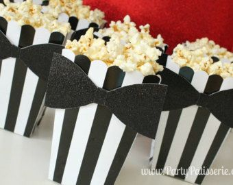 Black and White Popcorn Boxes with bow-tie set by PartyPatisserie