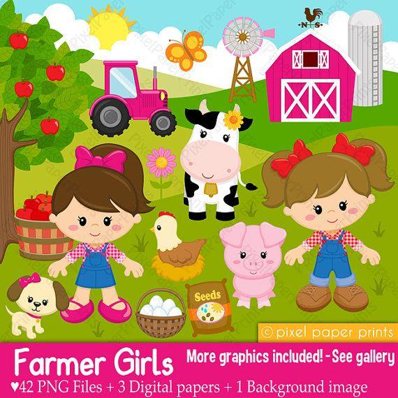 Farmer boys Farm clipart Clip Art and Digital por pixelpaperprints