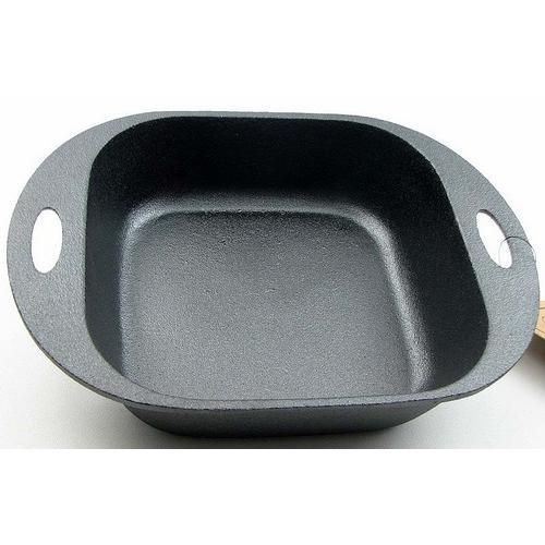 "Old Mtn Square Baking Pan Measures: Old Mountain Cast Iron baking dish measures 11""W including handles x 2.5""H x 8.25""D. Inside of pan measures 7.75""W x 2.5""H x 7.75""D."