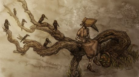 By the crooked tree Picture  (2d, fantasy, bird, tree, creepy, victorian, crow, spooky, raven, fairy tale)