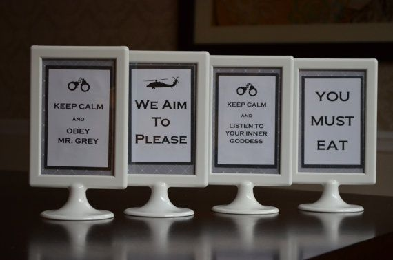 FOUR  Fifty Shades of Grey Party Signs by FrillsByStudioK on Etsy, $34.95