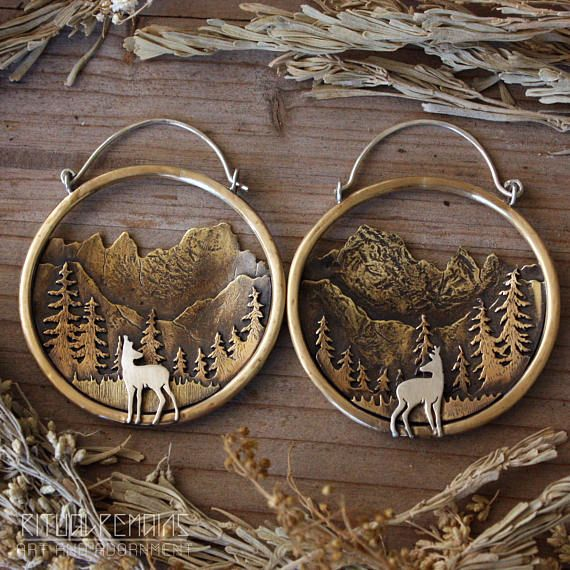 Mt. Whitney Landscape Hoops in Brass and Sterling Silver Deer Sierra Nevada Mountain Jewelry Ear Weights Mountain Hoops for Gauges