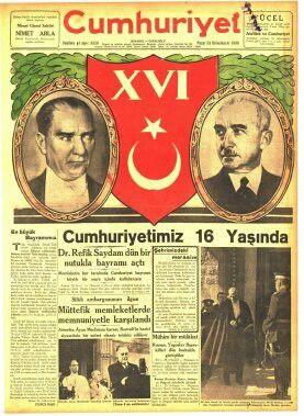 Cumhuriyetin 16.yıldönümü gazete haberi (Cumhuriyet gazetesi 29 birinciteşrin (Ekim) 1939) 2(Atatürk'ün 10 kasım 1938'de ölümü üzerine, 2.Cumhurbaşkanı İsmet İnönü bu törene katılmıştır.)