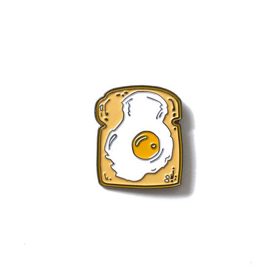 Fried Egg on Toast - Enamel Lapel Pin - Breakfast Brunch Food Lapel Pin - Sunny Side Up Egg Illustration - Bread Enamel Pin