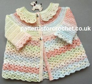 Free baby crochet pattern for coat http://www.patternsforcrochet.co.uk/matinee-coat-usa.html #patternsforcrochet