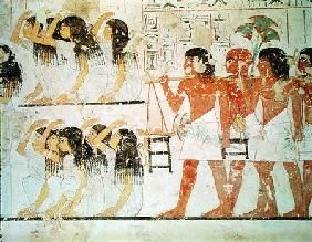 Egyptian - Group of mourners in the funeral procession of Ramose, from the Tomb Chapel of Ramose, New Kingdom
