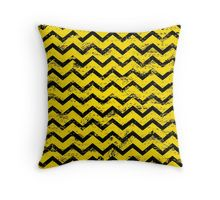 industrial inspired yellow distressed chevron pattern pillow
