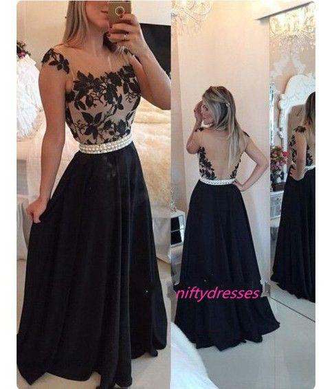 New Arrival Black Prom Dresses,Black A-Line Chiffon Long Prom Dresses,Women Formal Dresses,Evening Formal Gown