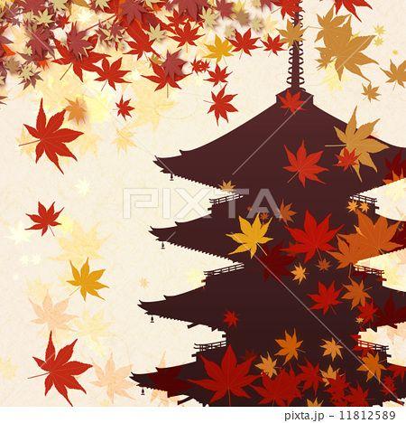 五重塔と紅葉。紅葉のイラストのアイデア                                                                                                                                                      もっと見る