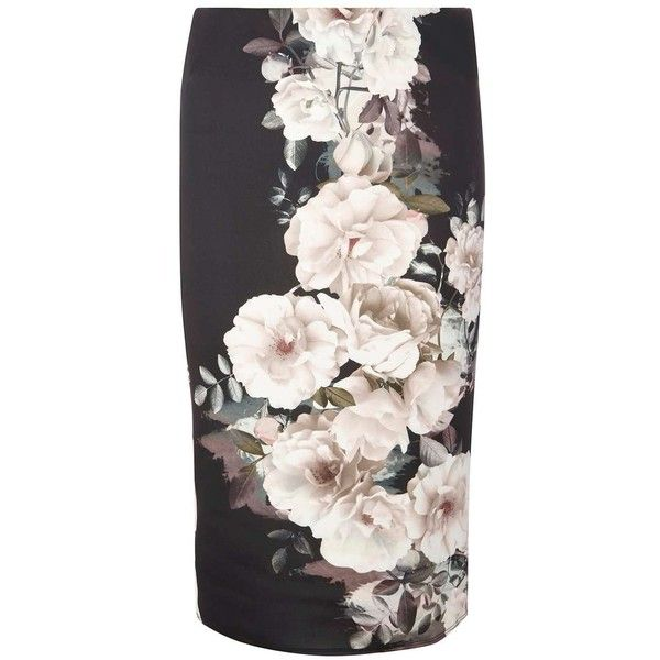 Dorothy Perkins Black and Green Floral Scuba Pencil Skirt ($44) ❤ liked on Polyvore featuring skirts, flower print skirt, floral printed skirt, green pencil skirt, pencil skirt and floral print pencil skirt