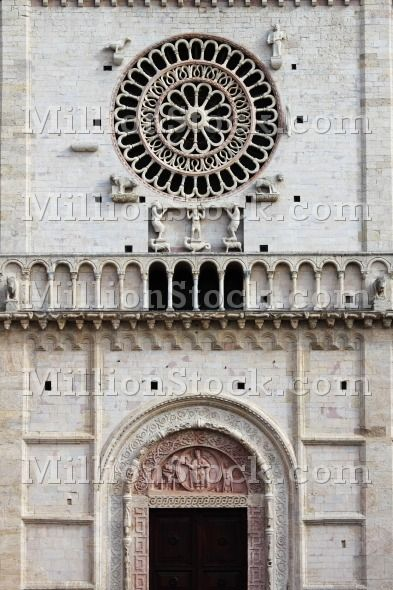 Rose window of Saint Rufino Cathedral in Assisi, Italy