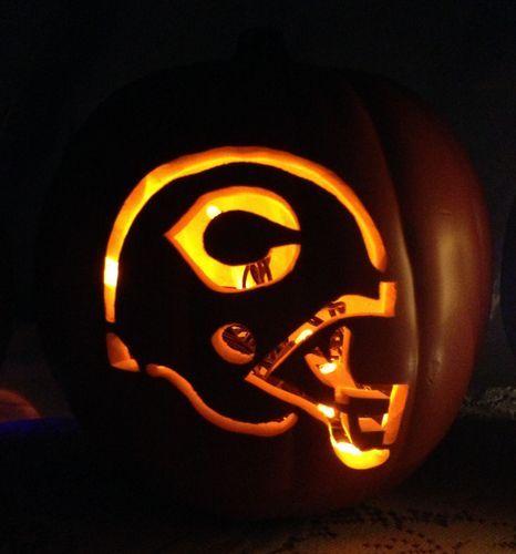 "9"" Custom Carved Chicago Bears Foam Pumpkin Lantern with Orange LED lights Starting at 19.99 on Ebay!"