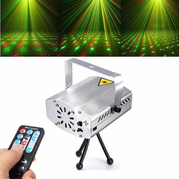 Silver Mini R&G Auto/Voice Xmas DJ Disco LED Laser Stage Light Projector Remote