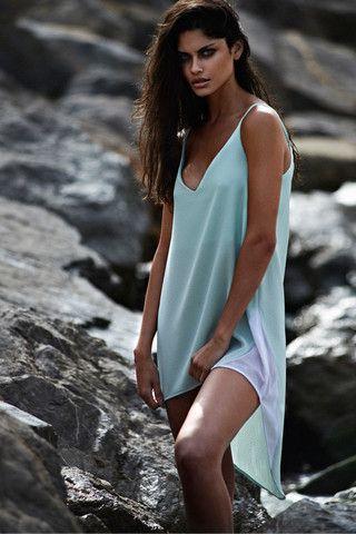 ANGELA BANG | MINT HIGH-LOW STRAPPY DRESS €175.00 #angelabang #paradiseisle #mint #dress #white #mesh