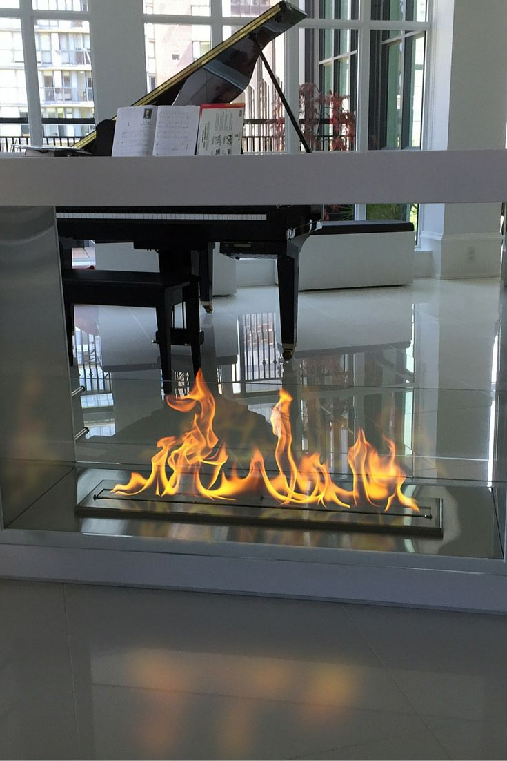 This free standing ethanol fireplace is sleek and edgy. It can be placed anywhere as it doesn't require any special installation. This modern fireplace will be perfect in the center of the room where you will enjoy the fire from both sides. http://modernblaze.com/products/the-bio-flame-sek-xl