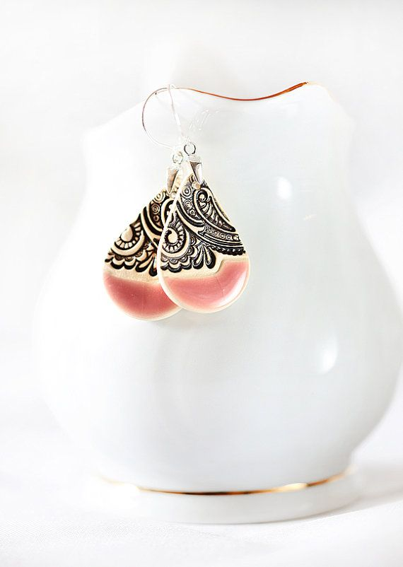 Pink dangle earrings Sterling silver earwires Ceramic jewelry Ceramic earrings Long dangle earrings Elegant earrings Pink statement earrings