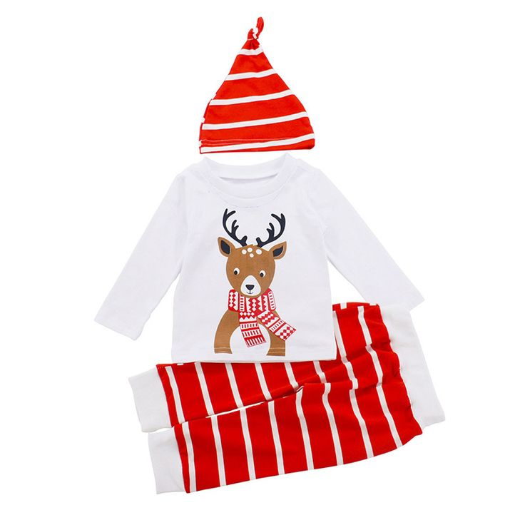 3PCS Newborn Baby Christmas Suits Cotton Whaite T shirt Stripe Pants Hat Cartoon Deer Pattern Infant. Click visit to buy #BabyBoyClothingSets