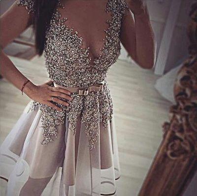 Cute V-neck short Homecoming dress,A-line organza beading short prom dress,Sexy homecoming dress