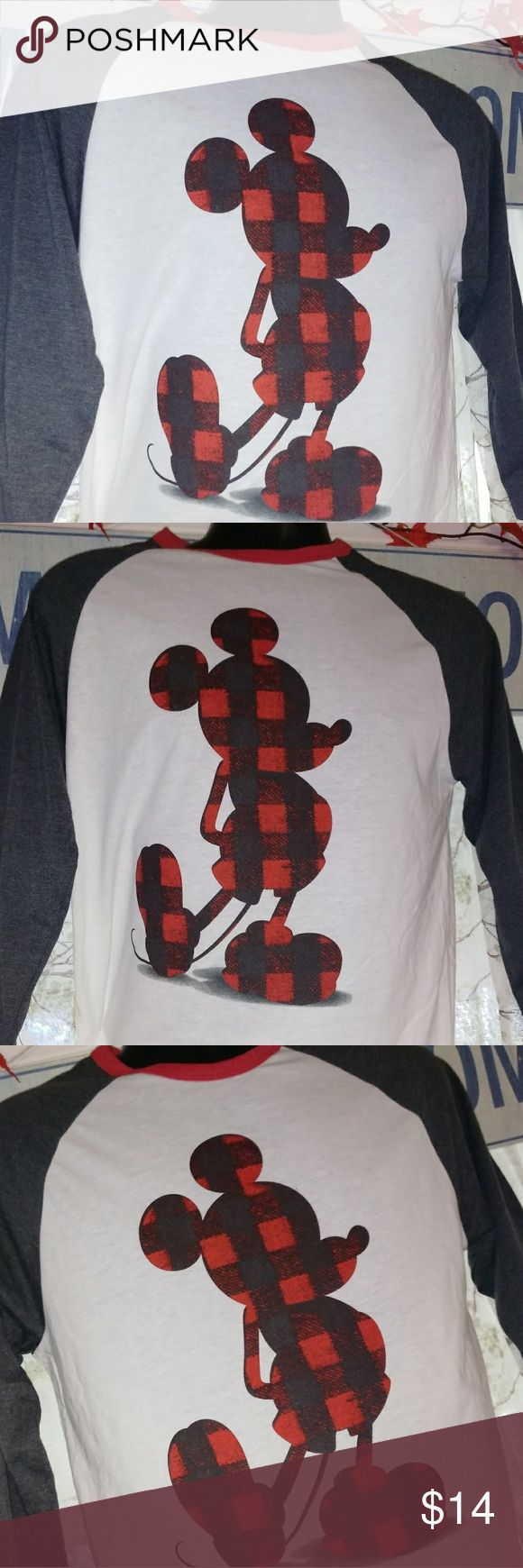 New Plaid Mickey Mouse Shirt .item: Brand New Plaid Mickey T-Shirt, Baseball Jersey Type With Long Gray Sleeves And A White Shirt . Size Availability : Adult 2-Medium,  1-Large, 3-XL, 2-XXL . Color: White T-Shirt W/Gray Sleeves  . Material: Cotton Blend  . Brand: Official Disney Merchandise Disney Shirts Tees - Long Sleeve