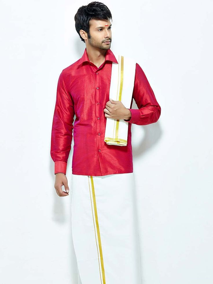 Miraculous red color raw silk shirt comes with white color cotton dhoti and angavastram. Item code : SCU12002-17 http://www.bharatplaza.com/new-arrivals/south-indian-mens-wear.html