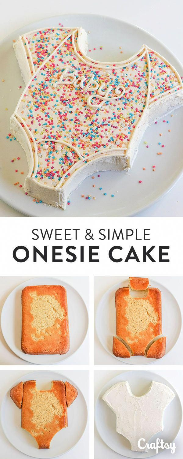 Make this super cute onsie cake for your baby shower celebration. (easy sweets f…