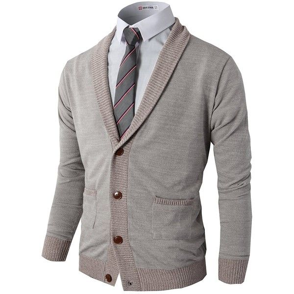 H2H Mens Basic Shawl Collar Knitted Slim Fit Cardigan Sweaters with... ($20) ❤ liked on Polyvore featuring men's fashion, men's clothing, men's sweaters, mens sweaters, mens shawl collar sweater, mens cardigan sweater, mens shawl collar cardigan sweater and mens slim fit sweater
