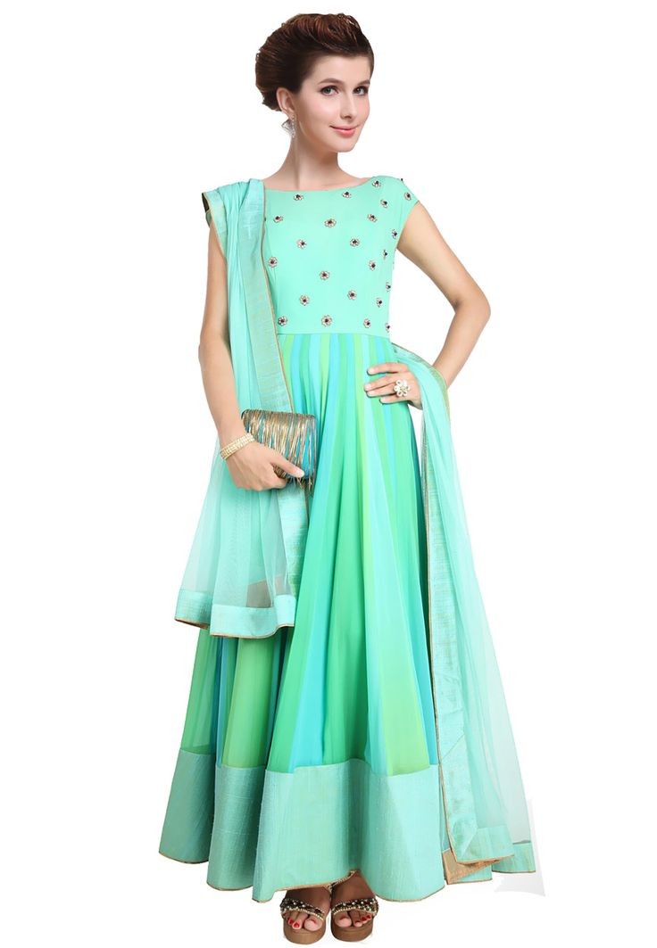 Teal Blue Faux Georgette Readymade Abaya Style Churidar Kameez Online Shopping: KUB65